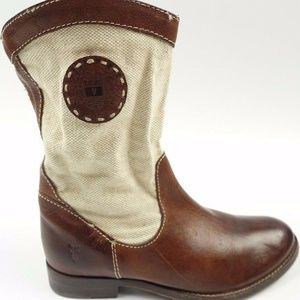 Mid Calf Beige Canvas Brown Leather Riding Boots